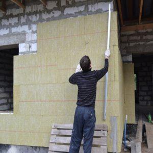 Утеплення фасаду мінеральною ватою 150 мм (декор- структурна фарба)