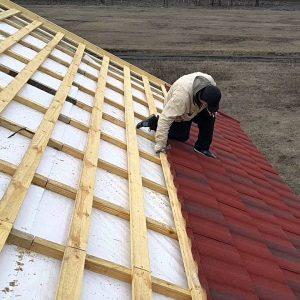 Монтаж композитної черепиці -складний дах (метал і планки)